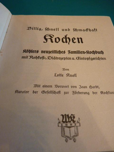 Kochbuch Lotte Knoll Um 1930 Tafeln Illustriert Antiquitäten